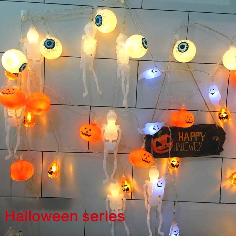 New LED Halloween Decorations String 3m Pumpkin Ghost Skeleton Spider Bat Battery Box Lights 1.5m Hot White Color