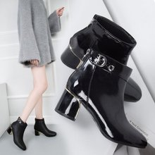 цены 2019 New Winter Boots Women Thick High Heel Ankle Boots Zip Buckle Pointed Toe Solid No-slip Snow Boots PU Warm Shoes AEZLZ216