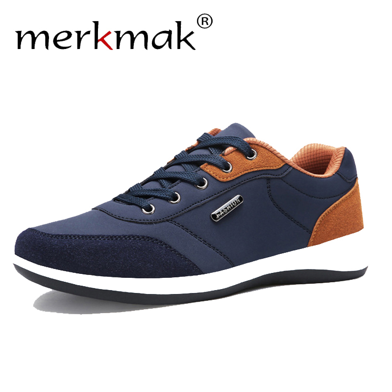 Merkmak 2019 Autumn New Sneakers Men Shoes Lace-Up Mens Shoes Microfiber Leather Casual Shoes Male Winter Man Footwear Flats