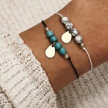2Pcs/lot Women Lucky Bracelets Bead String Stone Charm & Bangles Men Handmade Accessories Lovers Jewelry