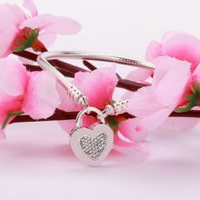 Original 925 Sterling Silver Bracelet Heart Shaped With Crystal King's Heart Bracelet Fit European Charm Bracelets Women Jewelry(China)