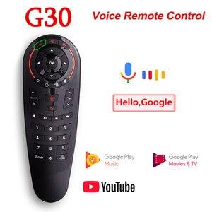 Image 1 - G30S ses uzaktan kumanda 2.4G kablosuz hava fare G30 33 keys IR öğrenme Gyro algılama için akıllı uzaktan Android TV kutusu oyun PC