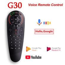 G30s controle remoto de voz 2.4g mouse ar sem fio g30 33 teclas ir aprendizagem giroscópio sensing remoto inteligente para android tv caixa jogo pc