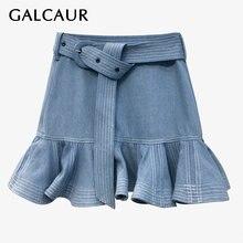 Юбка женская джинсовая трапециевидная составного кроя с оборками