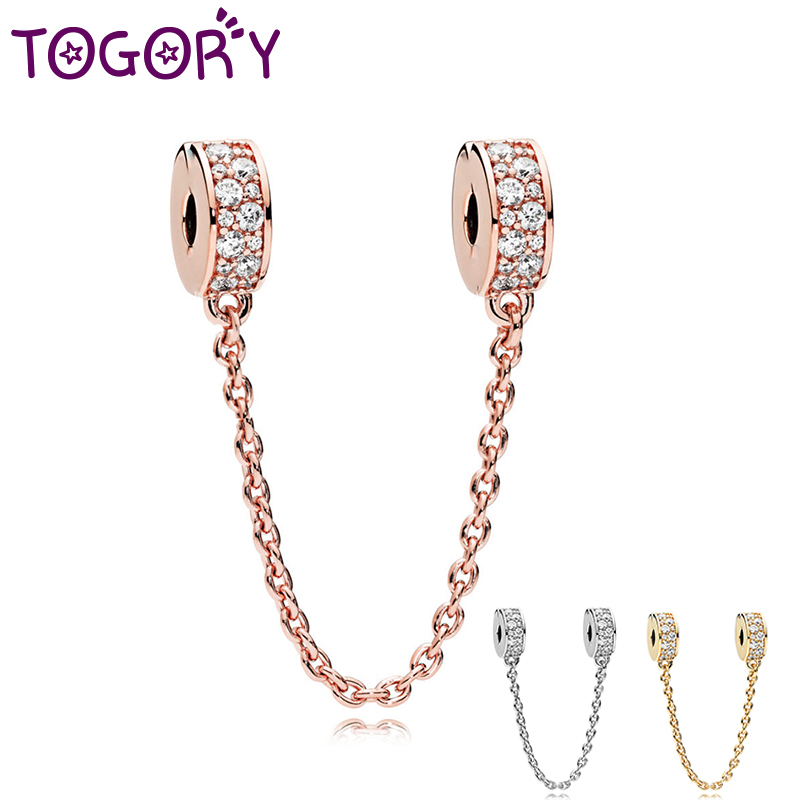 TOGORY, новинка, бусины из розового золота, очаровательные стразы, безопасная цепочка, подходит для брендового браслета, браслет, сделай сам, дл...