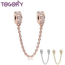 Togory nova rosa ouro grânulos charme strass corrente de segurança ajuste marca pulseira diy jóias femininas fazendo