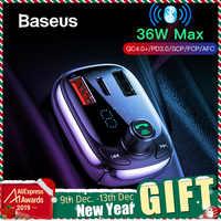 Baseus Quick Charge 4.0 ładowarka samochodowa do telefonu nadajnik FM zestaw samochodowy bluetooth Audio odtwarzacz MP3 szybki podwójny ładowarka samochodowa usb
