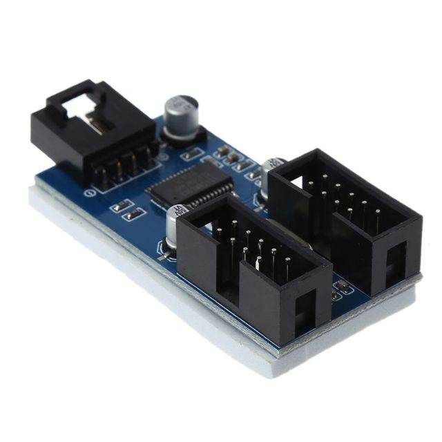 マザーボードのusb 9Pinインタフェースヘッダスプリッタ1 2に延長ケーブルエクステンダアダプタ9ピンusbハブ用pcコンピュータ