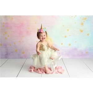 Image 3 - קשת יילוד אמנותי תמונה רקע זהב נצנץ כוכב קטן חלומי מתוק ילדי יום הולדת רקע לצילום סטודיו