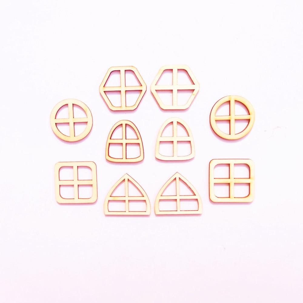 10 шт. пустые Разноцветные деревянные сказочные оконные аксессуары для дверей DIY Craft