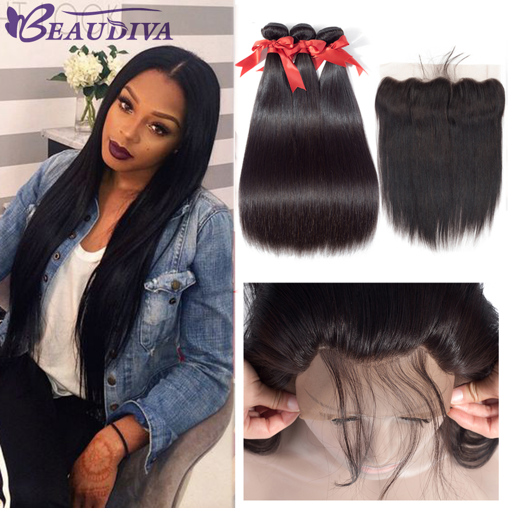 Brazilian Human Hair Straight Bundles With Frontal Natural Black Ear To Ear Lace Frontal Closure 3 Bundles With Closure Remy Hai
