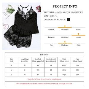 Image 5 - Suphis סקסי שחור V צוואר שרוולים למעלה סאטן Cami ורשת תחרה מכנסיים קצרים PJ סט 2019 סתיו הלבשת נשים פיג מה סטים
