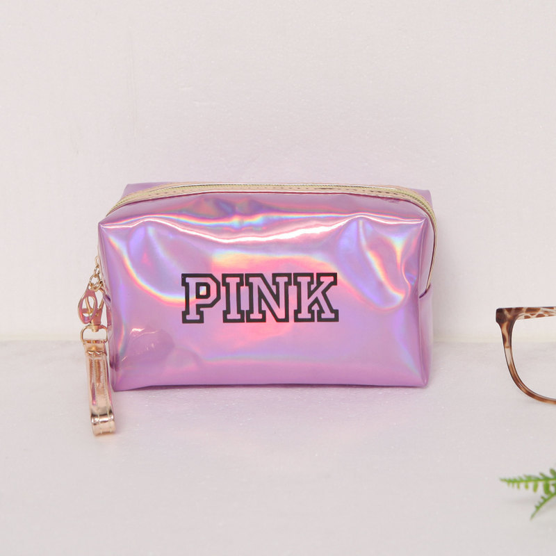 Fashion Candy Color Women   Portable  Cosmetic  Bag  Organizer  Travel Pink Small Makeup Bag   Colorful Mini  Pouch  Laser  Cute