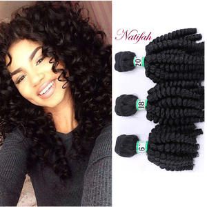 Natifah Weave Bundle Hair Blonde Synthetic-Hair Curly Brown Brazilian-Hair Bouncy 18-20inch