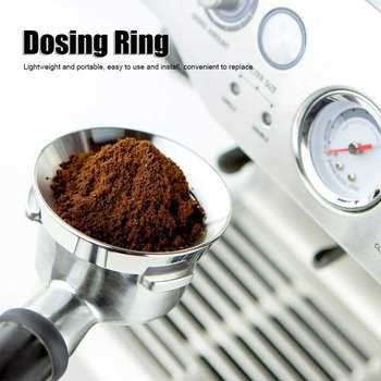 58mm Stainless Steel Coffee Dosing Ring Funnel Replacement Powder Receiver Kitchen Coffee Maker Machine Parts stainless steel 51mm 53mm 58mm coffee powder ring intelligent dosing espresso barista bowl funnel portafilter coffee accessories