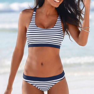New Sexy Striped Beach Bikinis Set Women Swimwear Push Up Swimsuit Female Bathing Suits Bikini Girls Pool Swimming Suit 2020(China)