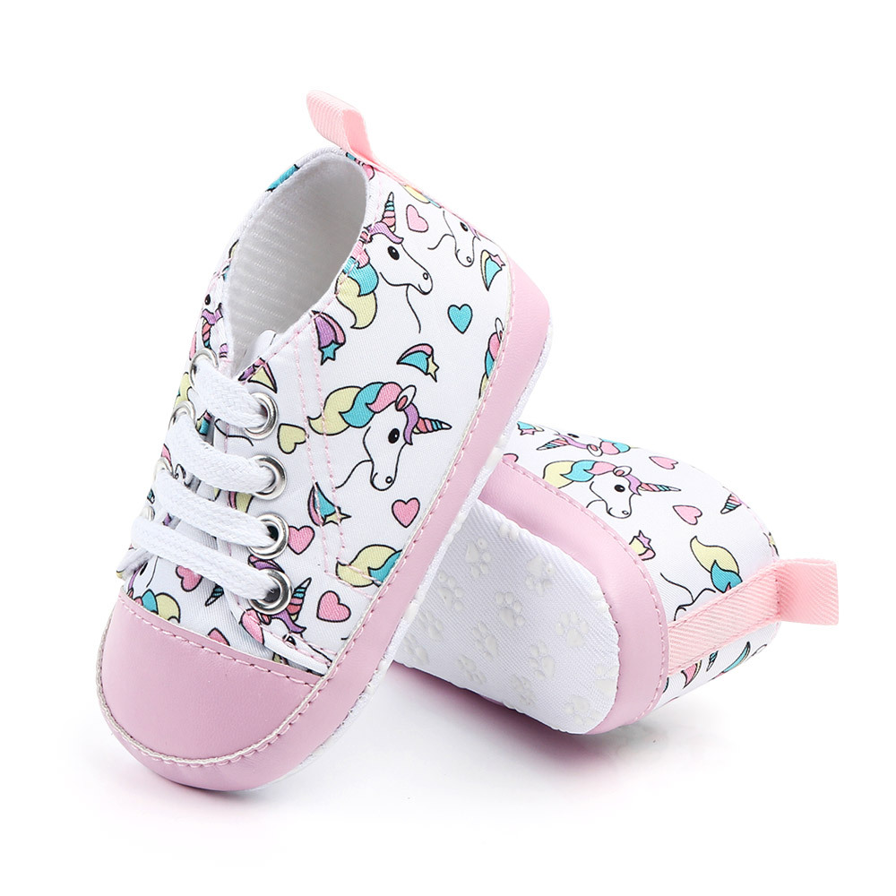 Unicorn Graffiti Newborn Baby Girl Boys Shoes Soft Shoes Dinosaur Printing Infant Toddler Hard Bottom Crib Shoes First Walking S