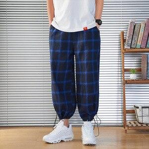 Image 4 - 2020 新メンズスウェットパンツ男性のパンツチェック柄ストリートジョギング男性コットン混紡ヒップホップランナーズボンドロップ無料 ABZ216