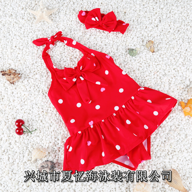 Ollie Children GIRL'S One-piece Polka Dot Ai Heart·traeh Bao Hot Springs Girls Princess Swimwear BABY'S Bathing Suit Send Hair B