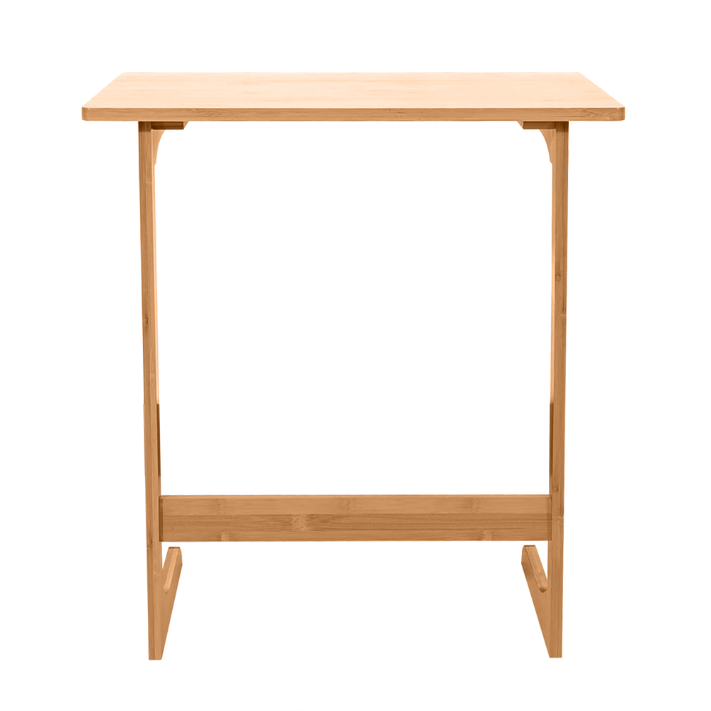 60x40x65cm L-shaped Bamboo Sofa Side Table Sandal Wood Color Side laptop computer Homework Desk Lazy Table For Reading