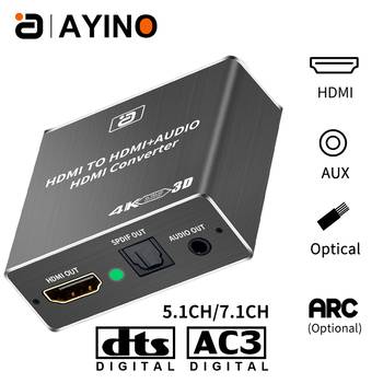 AYINO HD 1080P HDMI to HDMI Optical SPDIF RCA L/R Extractor Converter Audio Splitter Hdmi Converter Adapter for PS4 Computer HDT image