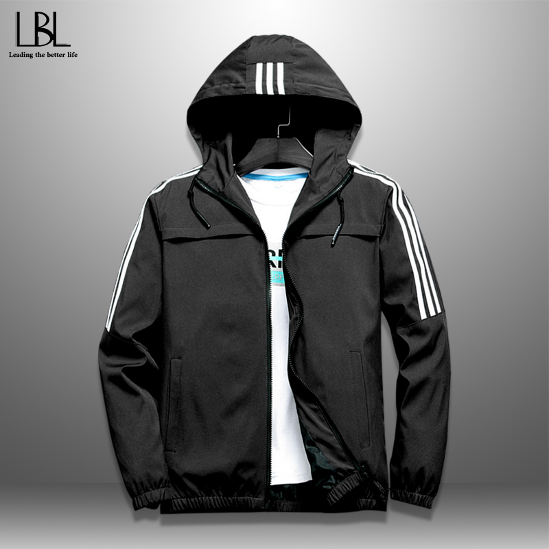 Men Casual Hooded Jackets Autumn Thin Coat Slim Fit Men's Striped Jackets Zipper Hoodies Windbreaker Tracksuit Streetwear Bomber