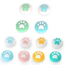 4 adet sevimli kedi Paw pençe Thumb çubuk kavrama Cap Joystick kapak nintendo anahtarı Lite NS Joy Con denetleyici Gamepad Thumbstick kılıf