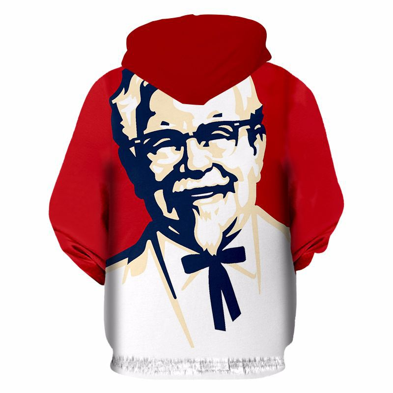 2018 Spring And Autumn New Style 3D Printed KFC Grandpa Sports Casual Clothing Zipper Hoodie Tops Customizable
