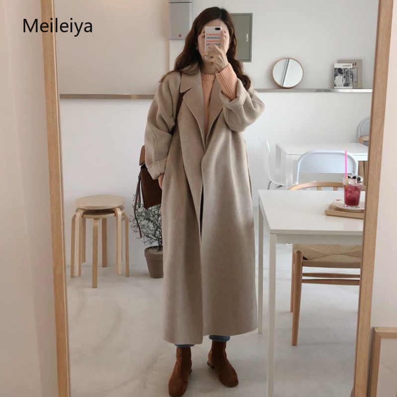 Женское элегантное корейское зимнее длинное пальто, верхняя одежда, пальто свободного размера плюс, кардиганы с длинным рукавом, манто Femme Hiver