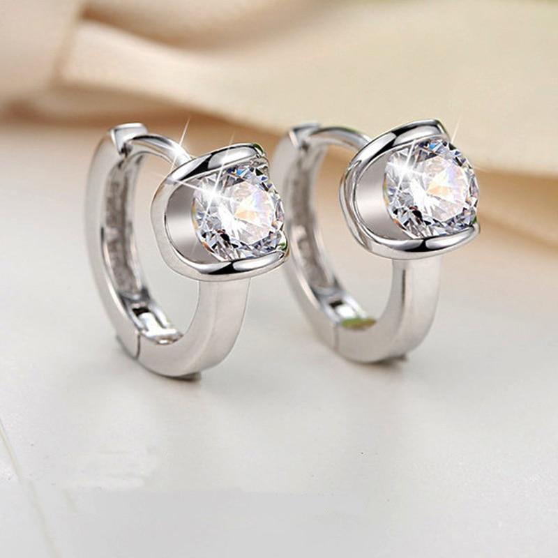 Huitan Delicate Small Hoop Earrings Women Shiny Solitaire Crystal Zircon Simple Design Female Accessories Trendy Earring Jewelry