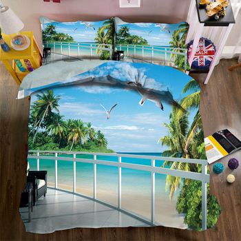 Fashion print Bedding Duvet Cover set Seagull Beach Scenery Pattern Luxury Bedding Bed Comforter set Quilt Cover Pillowcase 3pcs