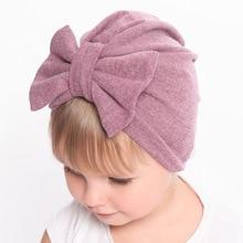 Зимняя и Осенняя шапка для маленьких девочек 0-24 мес., с большим бантом, из хлопка и шерсти, вязанная Толстая теплая шапка для младенца, новая детская шапочка, шапочка, шапочка для девочек