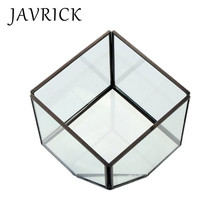Women Jewelry Storage Box Micro Landscape Crafts Geometric Shape Glass Flower Room Cover Nordic Decoration
