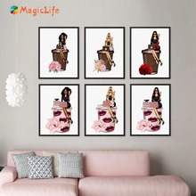 Fashion Girl  Wall Art Canvas Painting Flower Paris Perfume Handbag Nordic Pictures For Living Room Decor unframed