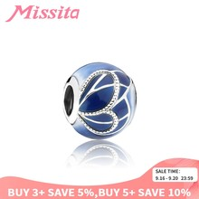 MISSITA 925 Sterling Silver Blue Butterfly Wing Beads fit Pandora Charm Bracelet DIY Jewelry Women Jewelry Accessories Gift(China)