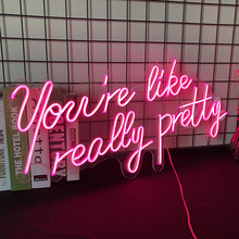 Customized Flex Led Pink Light 12V Best Set Acrylic Neon Sign Home Room Decoration Ins Party Wedding