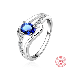 925 Sterling Sliver Sapphire Jewelry Diamond Ring for Women Hellow Anillos De Bizuteria Wedding Gemstone Blue Topaz S925 Rings