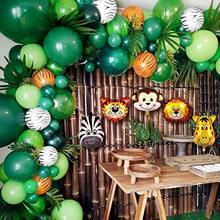 Conjunto de guirnaldas de globos de animales suministros para fiestas temáticas de jungla, Safari, favores de cumpleaños para niños, fiesta, decoración de baño de bebé, 106 Uds.