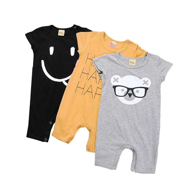 0-24M Baby Rompers Smile Cartoon Summer Clothing Baby Girls Jumpsuits Baby Onesie Letter Infant Baby Boy Clothes Newborn Babies