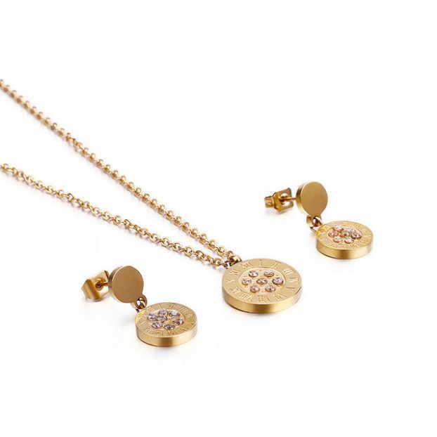 תכשיטי תכשיטי סט, תכשיטים סט עגול קריסטל זהב דבש עגיל שרשרת יופי נשים ZZXTZ18-SETG