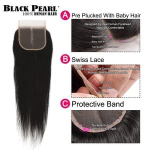 Image 3 - 黒真珠事前色 3 バンドルと閉鎖ストレート人間の髪のバンドル閉鎖ブラジル毛織りレミーバンドル髪