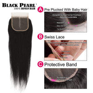 Image 3 - Black Pearl Pre Colored 3 Bundles with Closure Straight Human Hair Bundles with Closure Brazilian Hair Weave Bundles Remy Hair