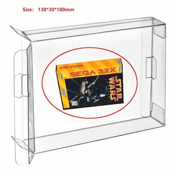 Ruitroliker 100Pcs Clear PET Box Case Sleeve Covers CIB Protector for 32X BOX Games Cartridge Box