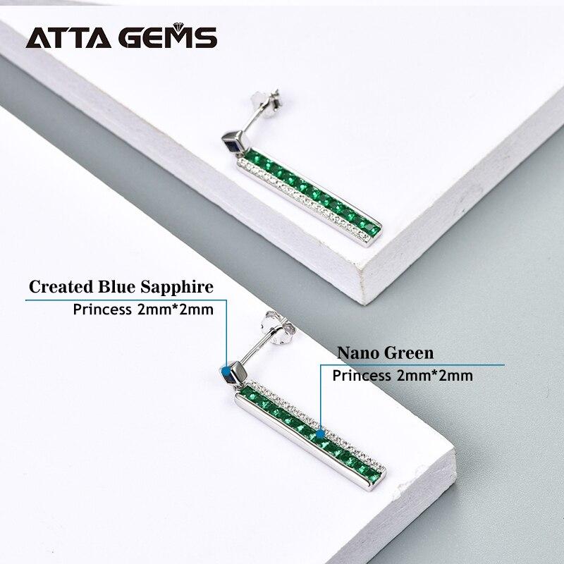 Nano Green Emerald Sterling Silver Drop Earring Classic Line Design S925 Earring Women Fine Jewelry Birthday Gift For Business