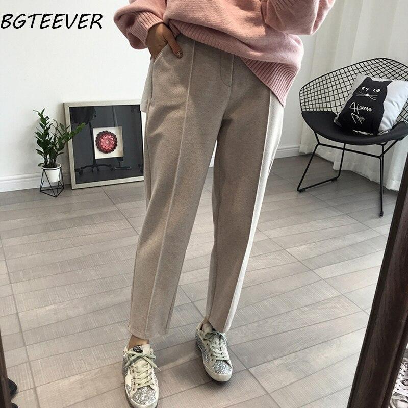 BGTEEVER Winter Thicken Women Pencil Pants Plus Size Wool Pants Female 2019 Autumn High Waist Loose