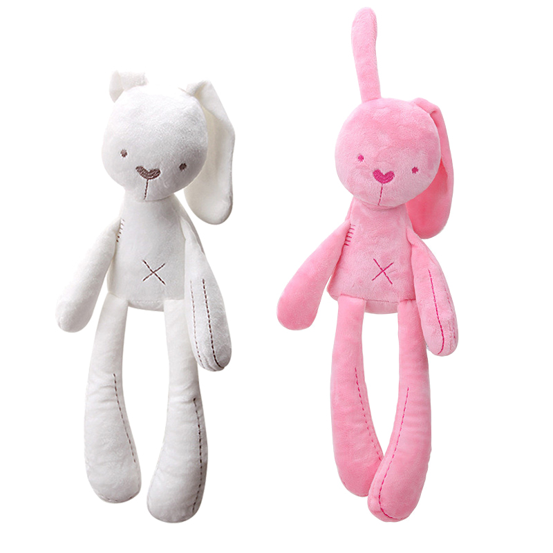 Pink White 40cm Baby Rabbit Sleeping Comfort Doll Plush Toys Soft Bunny Stuffed Animal Pillow Kids Gift Home Decoration