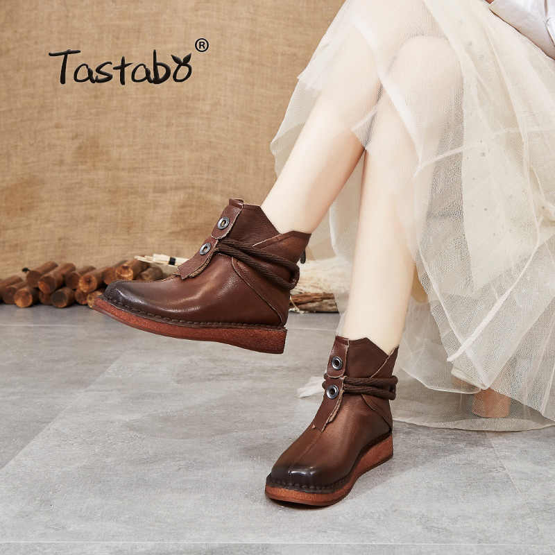 Tastabo 2019 hakiki deri orijinal el yapımı bayan botları yumuşak tabanlı ayakkabı günlük eğlence kadın çizmeler siyah kahverengi S99511