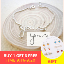XiaoJing 925 sterling silver personalized bracelet custom letter and name DIY fashion bracelets for women Gift Free shipping