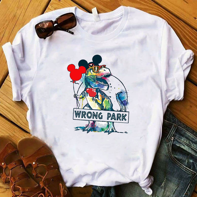 Women T Womens Wrong Park Dinosaur Ear Cute Funny Cartoon Graphic Top Tshirt Female Camisas Tee Shirt Ladies Clothes T-shirt image
