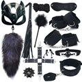 40CM Fuchsschwanz Metall Anal Plug Leder Katze Maske Peitsche Handschellen Bdsm Sex Spielzeug Für Frauen Bondage Erwachsene Spiele